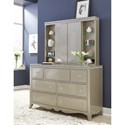Legacy Classic Kids Glitz and Glam Glam 7 Drawer Dresser and Vanity Mirror with LED Lighting