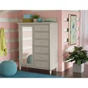 Legacy Classic Kids Grace Cottage Mirrored Door Chest with Turned Spindle Posts