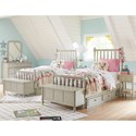 Legacy Classic Kids Grace Cottage Panel Twin Bed with Turned Spindle Posts - Shown with underbed storage unit