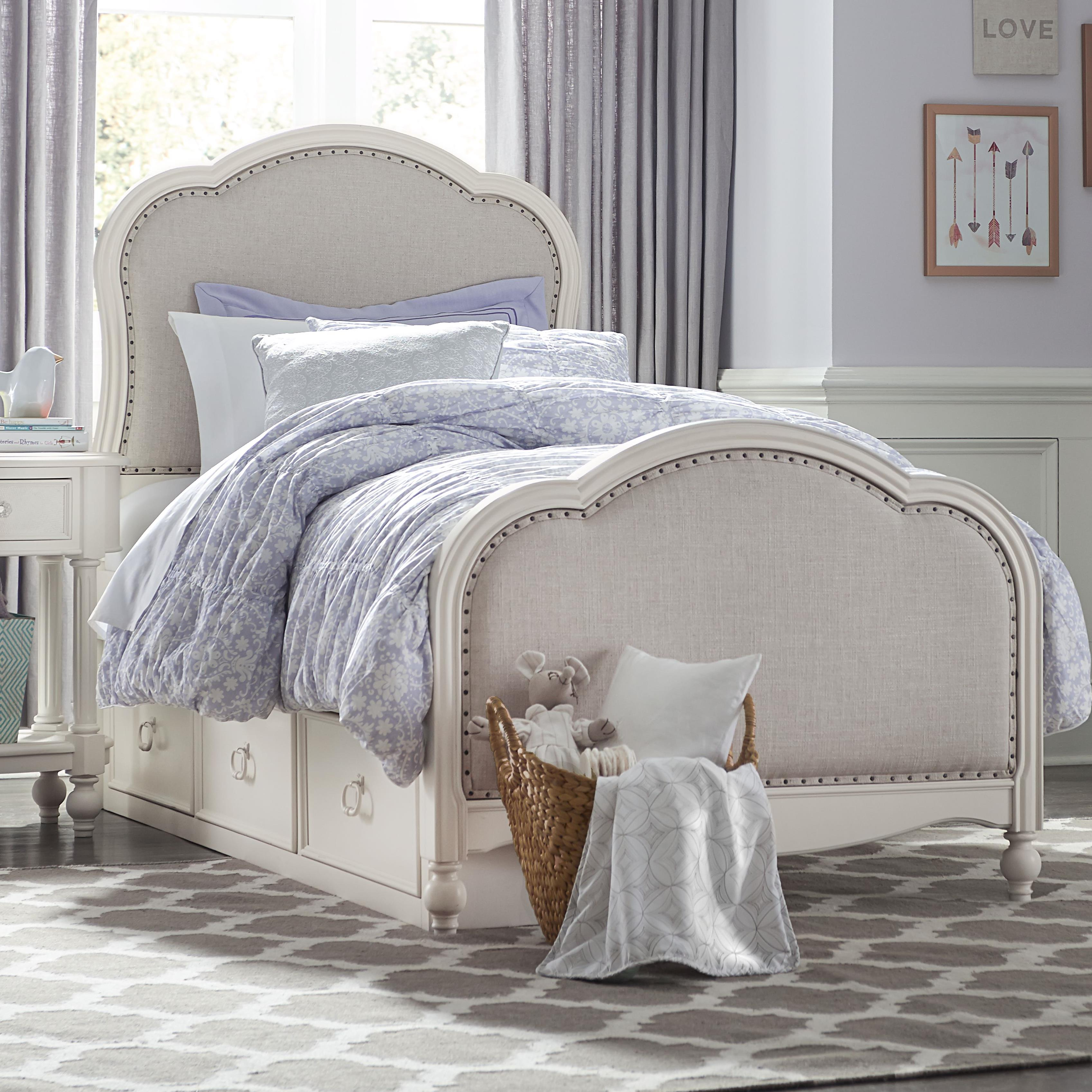 Picture of: Harmony Victoria Panel Twin Bed With Upholstered Tea Stain Woven Fabric With Underbed Storage Sadler S Home Furnishings Upholstered Beds