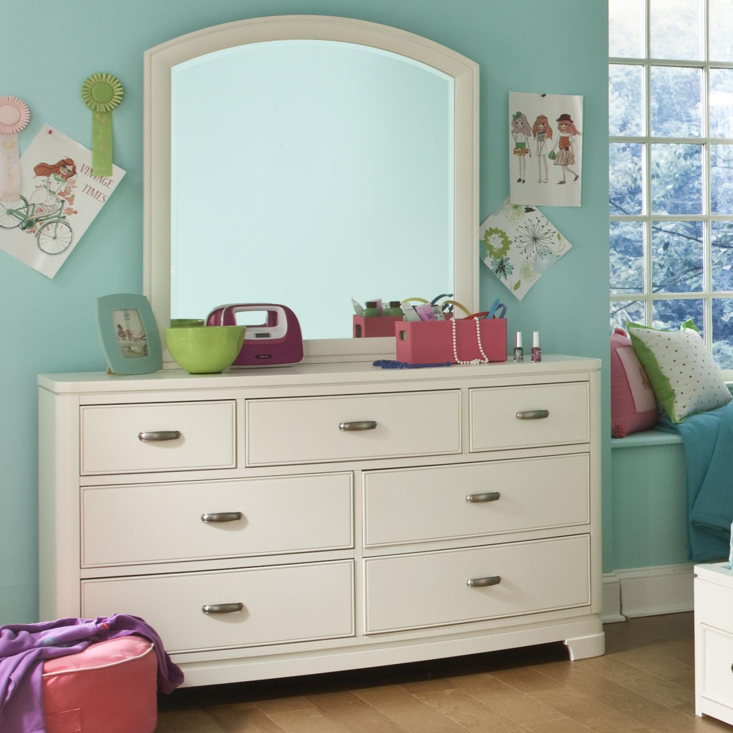 Legacy Classic Kids Park City White Dresser with Arched Mirror - Item Number: 9910-1100+0300