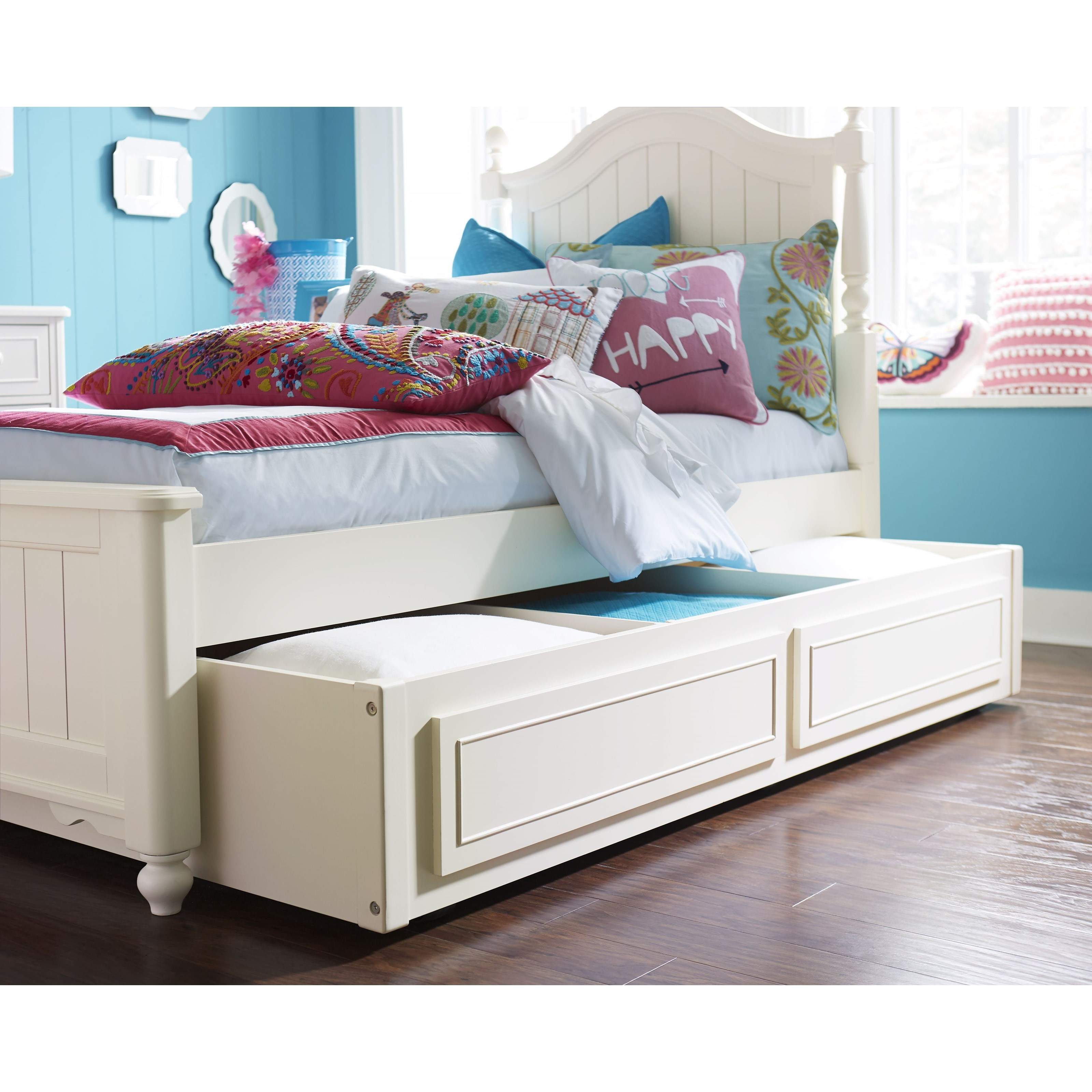 Legacy classic kids summerset twin bed with trundle storage drawer dunk bright furniture - Kids twin beds with storage drawers ...