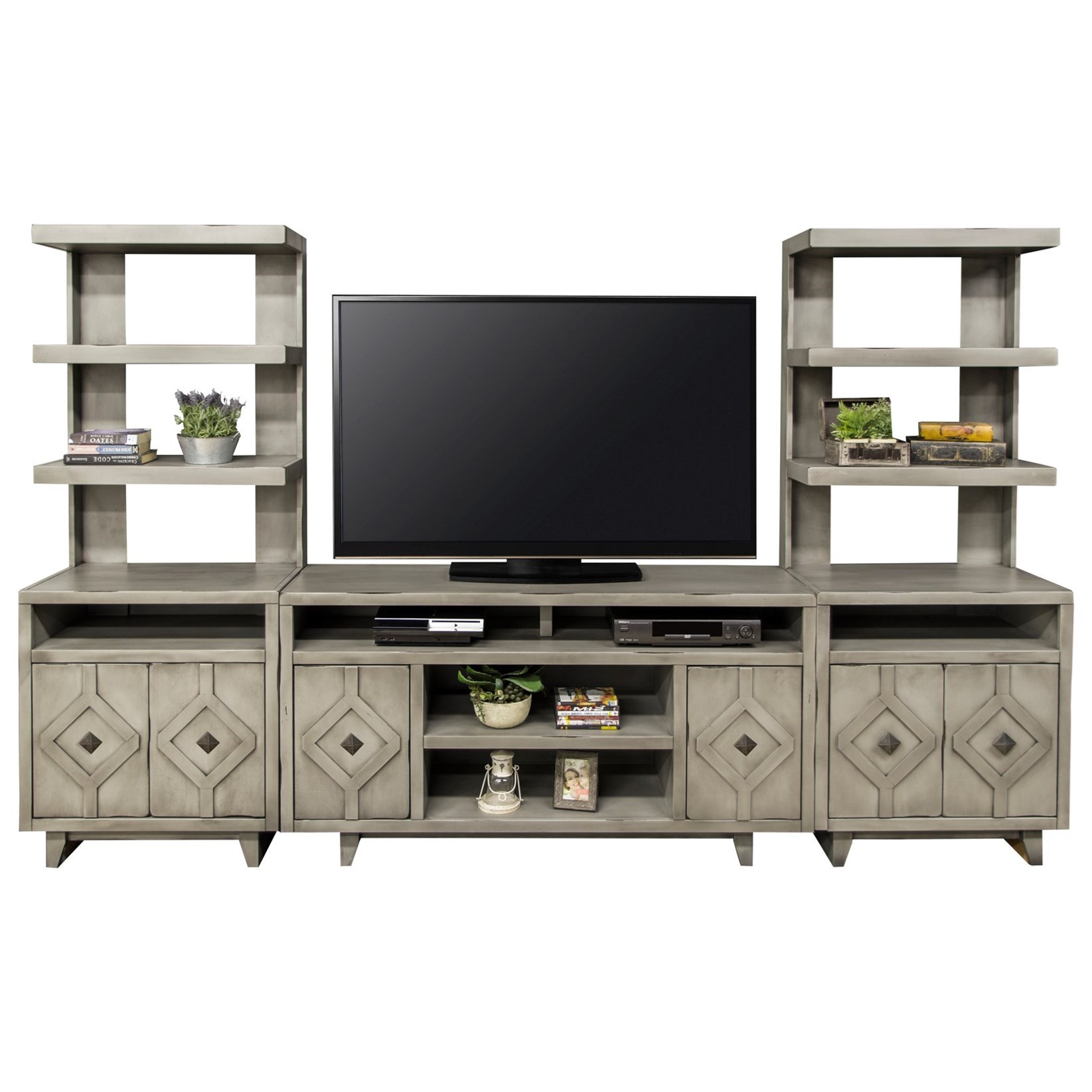 Legends Furniture Beverly Collection Entertainment Wall Unit - Item Number: BV1328-AGG+2x3979-AGG