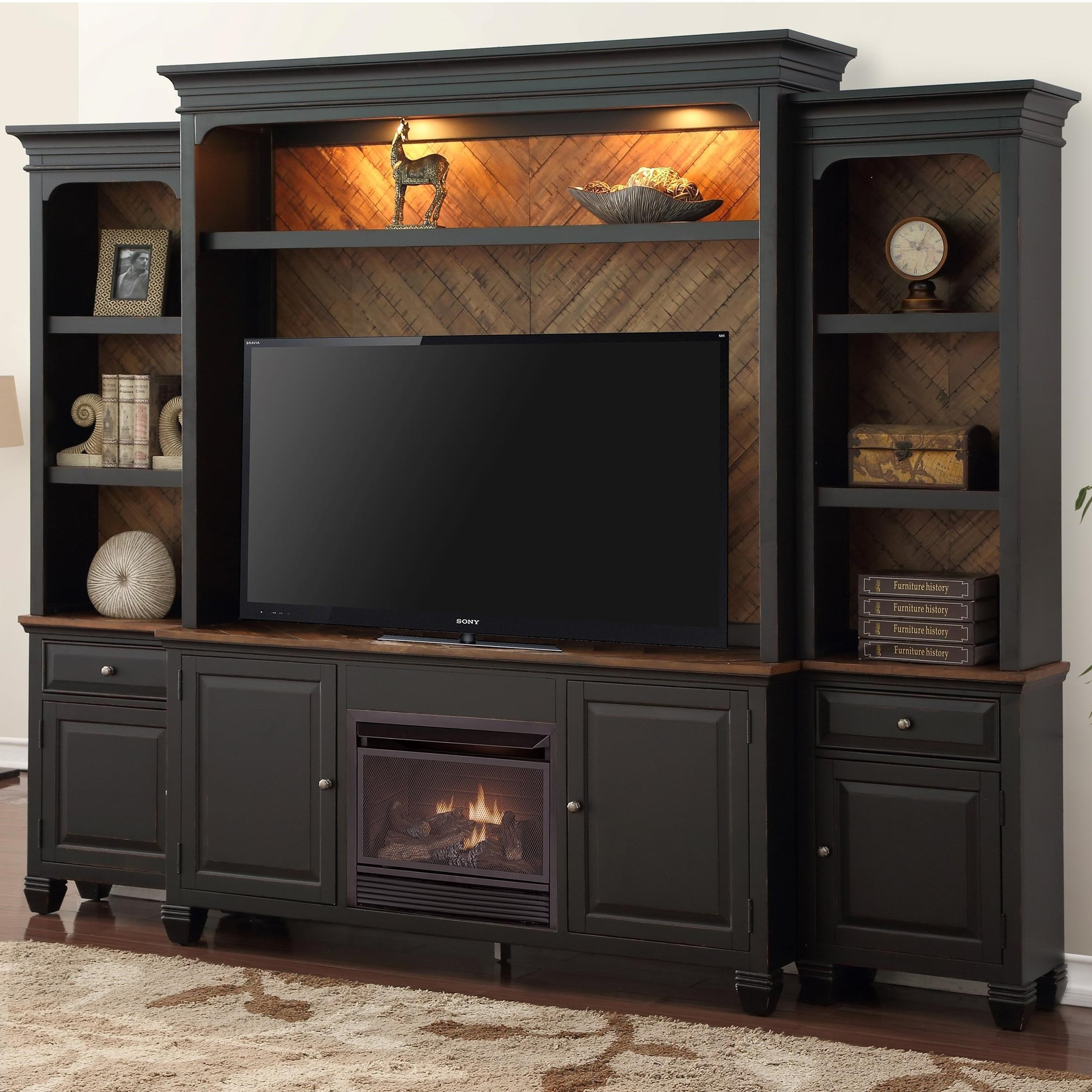 Brighton Fireplace Entertainment Wall Console With Lighting By Legends Furniture At Barn