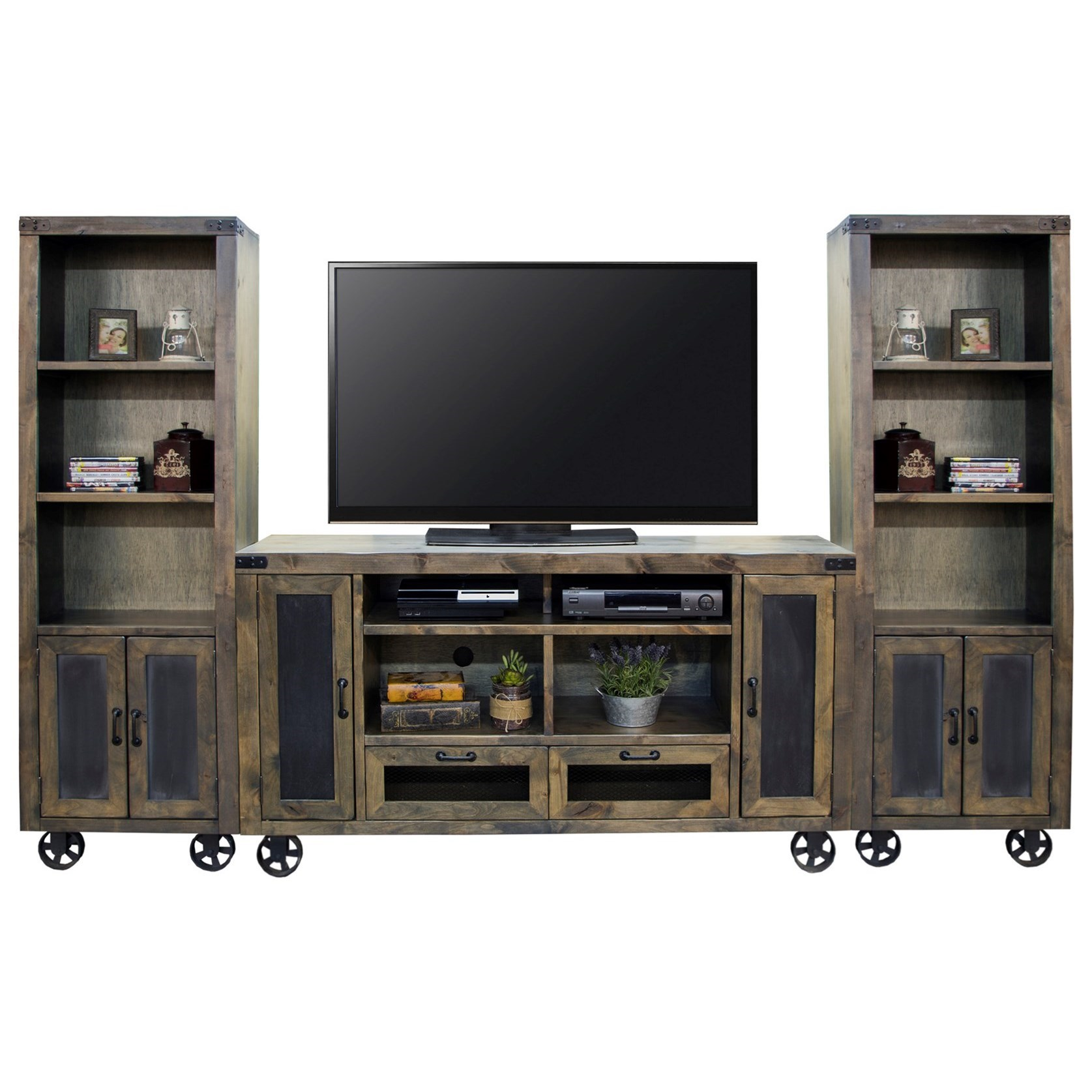 Legends Furniture Cargo Entertainment Wall Console With Bottom Wheel