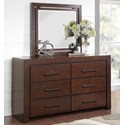 Legends Furniture City Lights Six Drawer Dresser and Mirror - Item Number: ZCTL-7013+7014