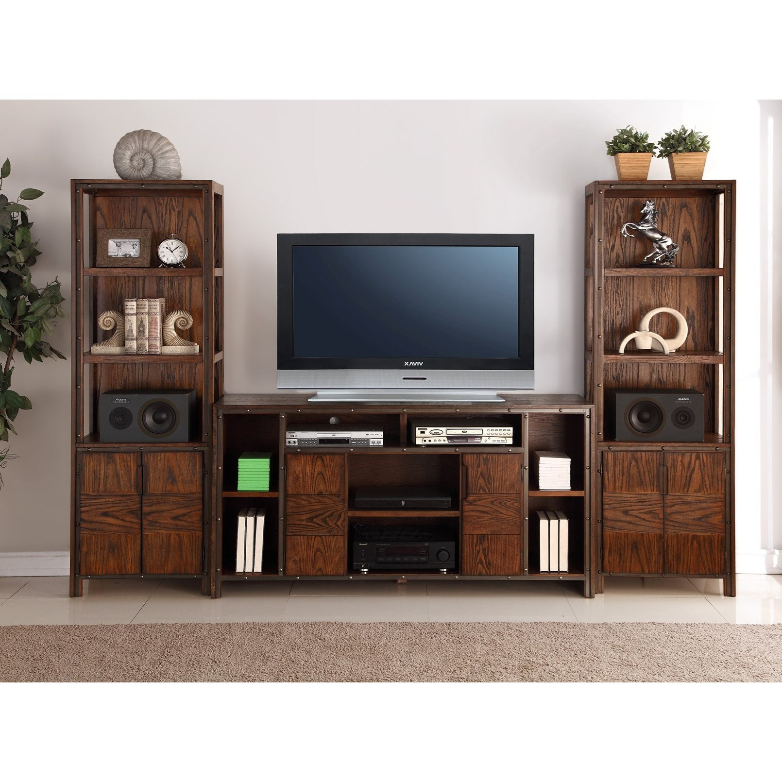 Legends Furniture Crossgrain Collection Entertainment Wall Console - Item Number: ZCGN-1464+2x3000
