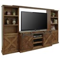 Legends Furniture Farmhouse Collection Rustic Entertainment Wall Unit with Sliding Doors