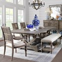 Legends Furniture Laurel Grove Trestle Table and Chair Set with Bench - Item Number: ZLGV-8000T+8000B+2x8301+2x8401+7065