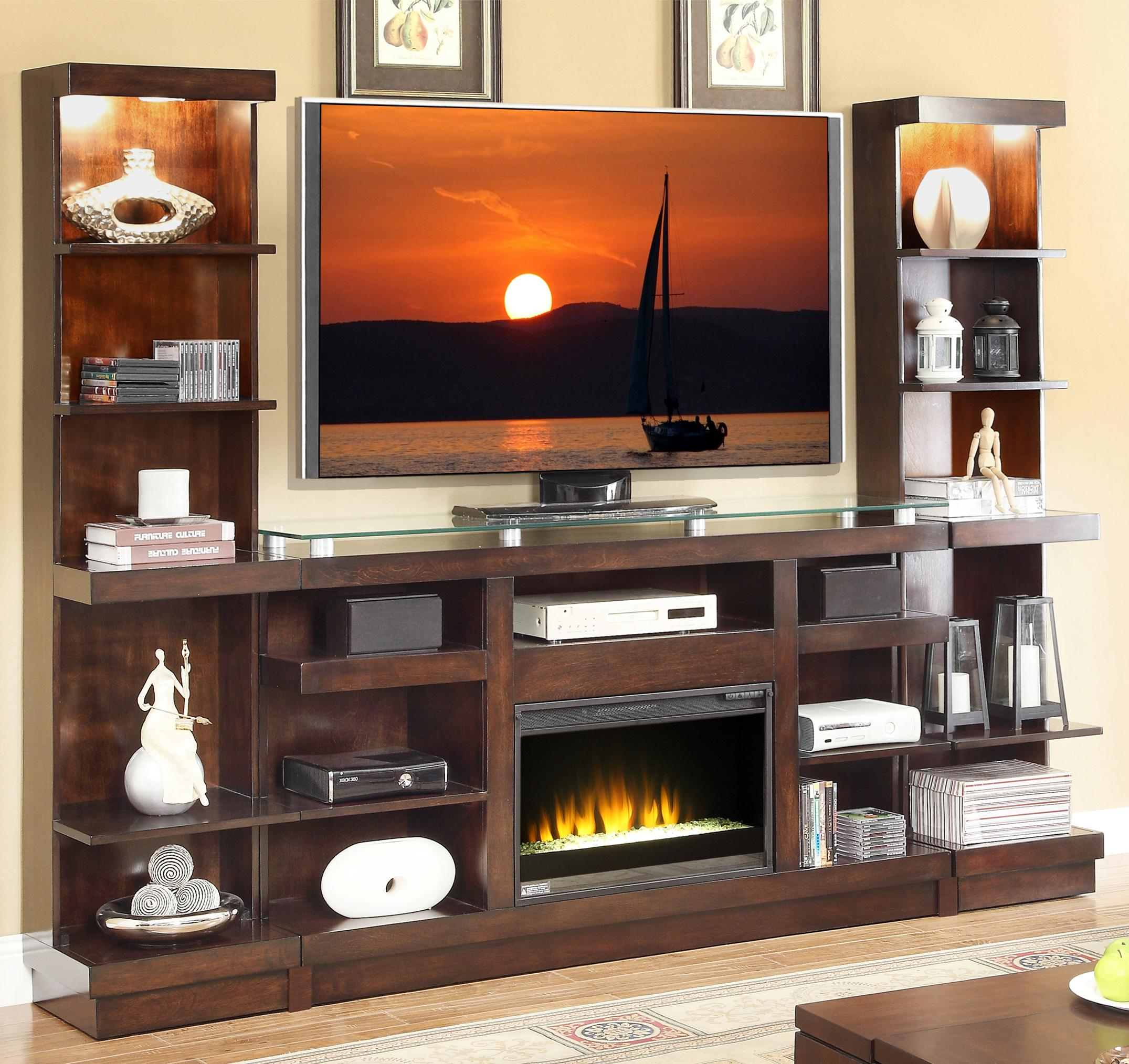Novella Entertainment Center With Fireplace And Bookcase Piers By Vendor 1356