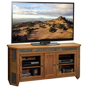 "Legends Furniture Oak Creek 62"" Angled TV Cart"
