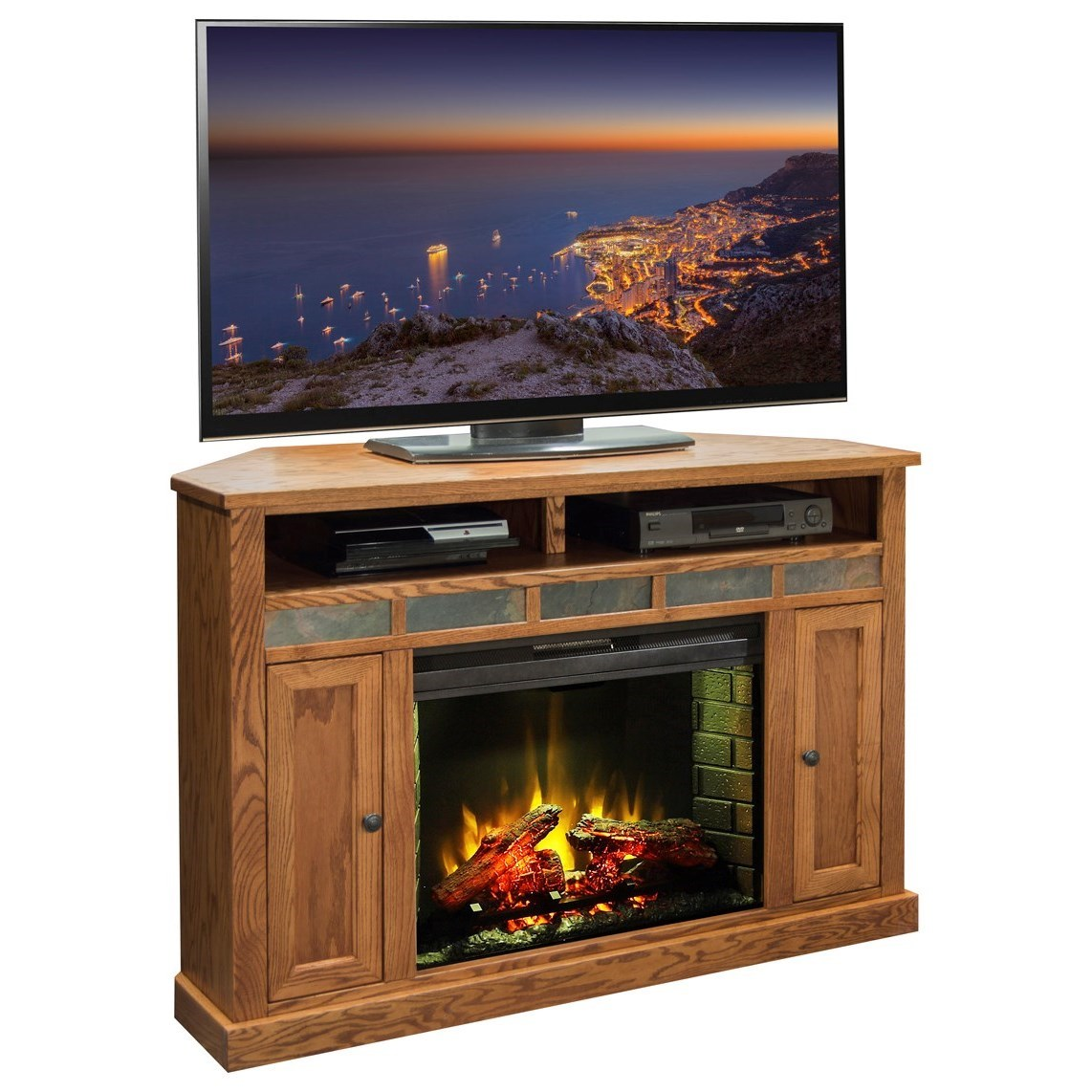 Brilliant Oak Creek Rustic 56 Corner Fireplace With Stone Tile Accents By Legends Furniture At Goffena Furniture Mattress Center Home Interior And Landscaping Ponolsignezvosmurscom