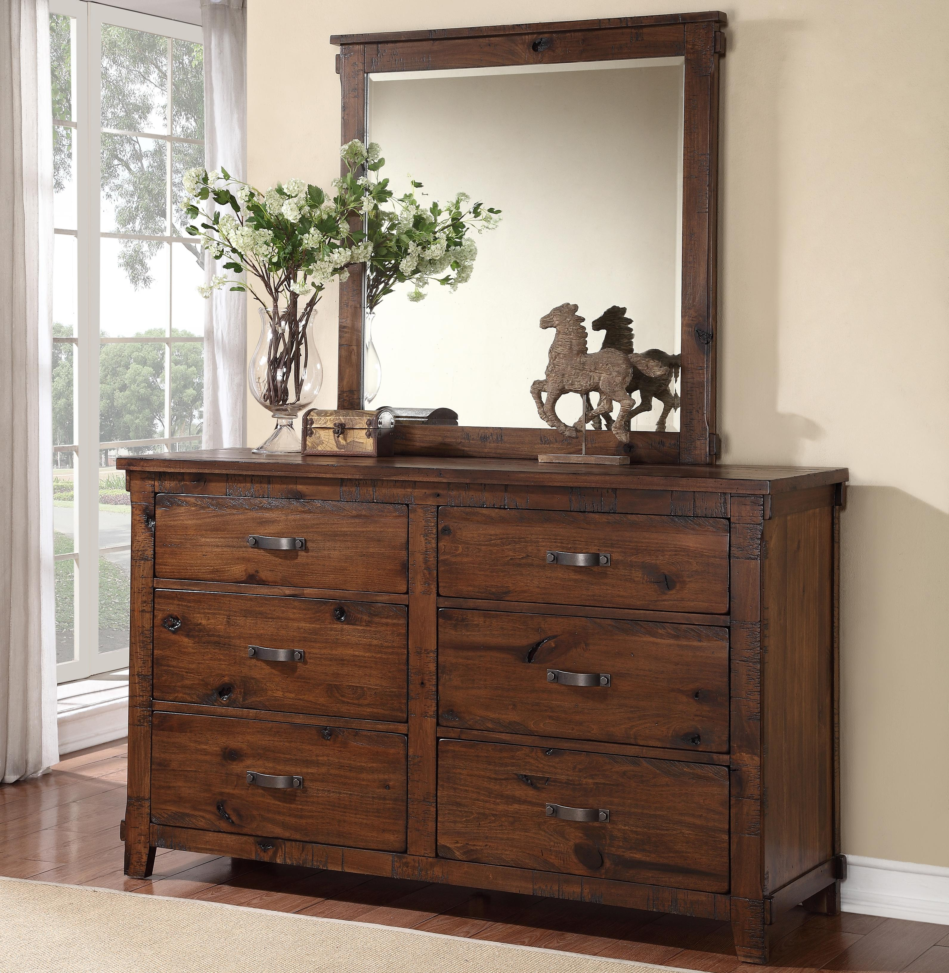 Legends Furniture Restoration 6 Drawer Dresser and Mirror - Item Number: ZRST-7013+14
