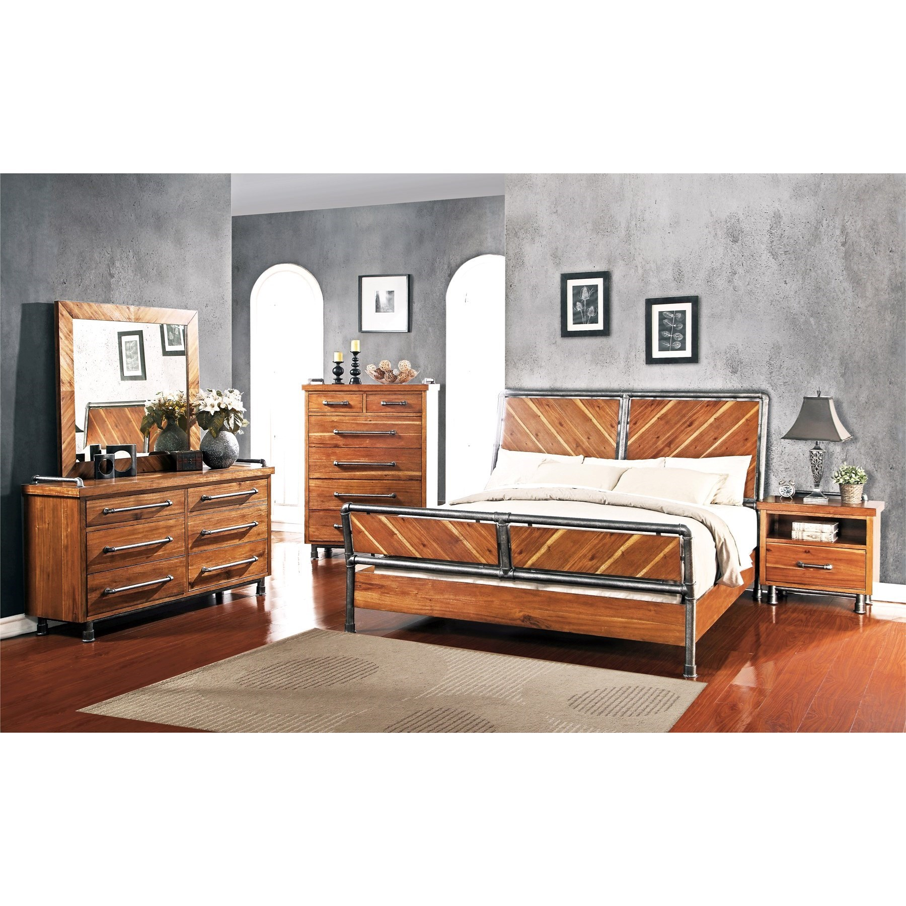 Legends Furniture Steampunk Collection Queen Bedroom Group - Item Number:  ZSPK Q Bedroom Group