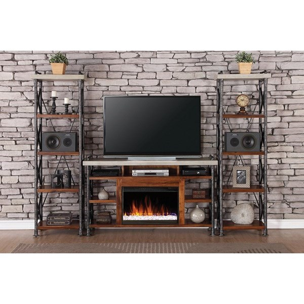 Legends Furniture Steampunk Collection Industrial Fireplace Entertainment Unit - Item Number: ZSPK-1965+2x3000