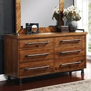 Legends Furniture Steampunk Collection 6 Drawer Dresser