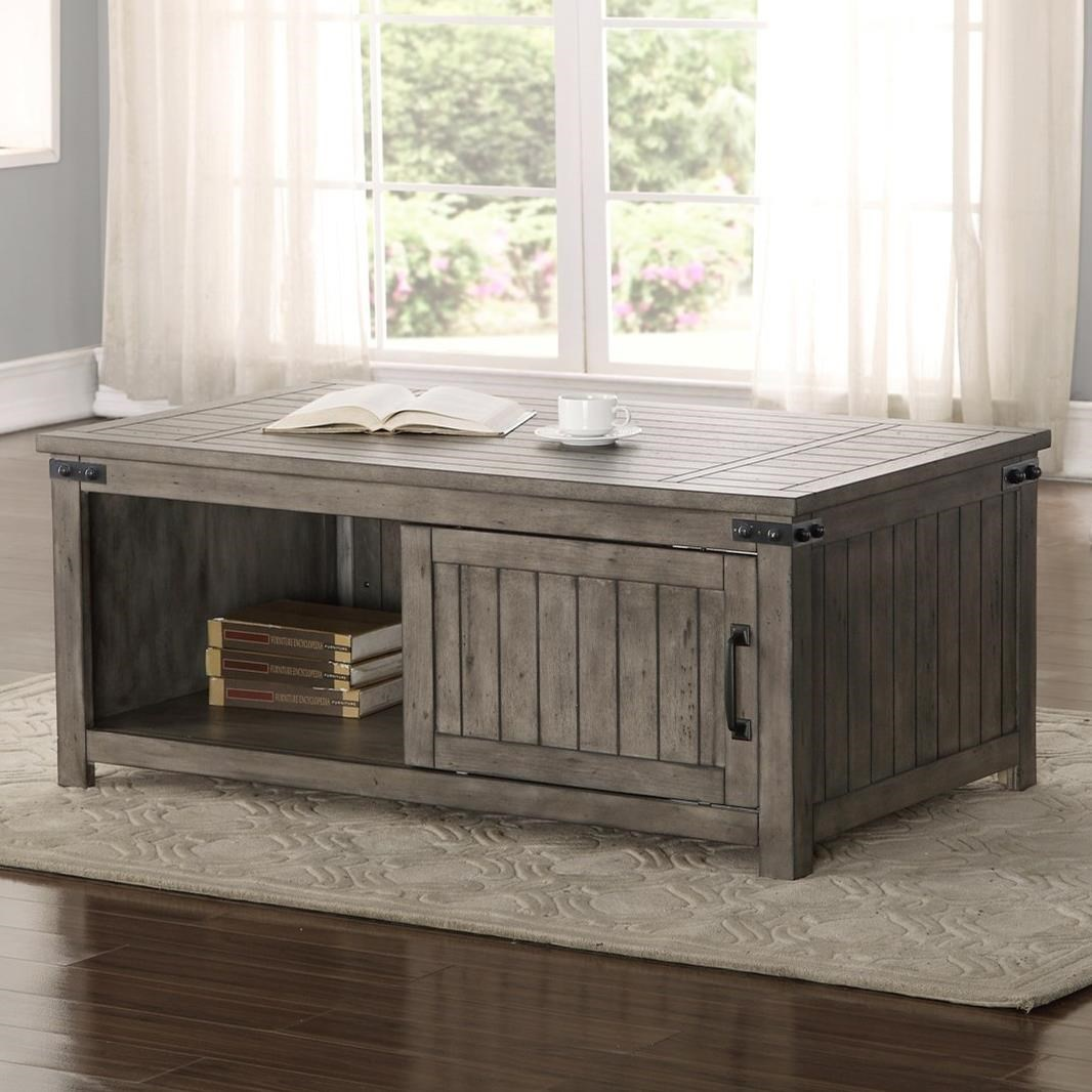 Storehouse coffee table with shelf