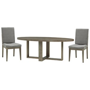 3 Piece Oval Dining Set