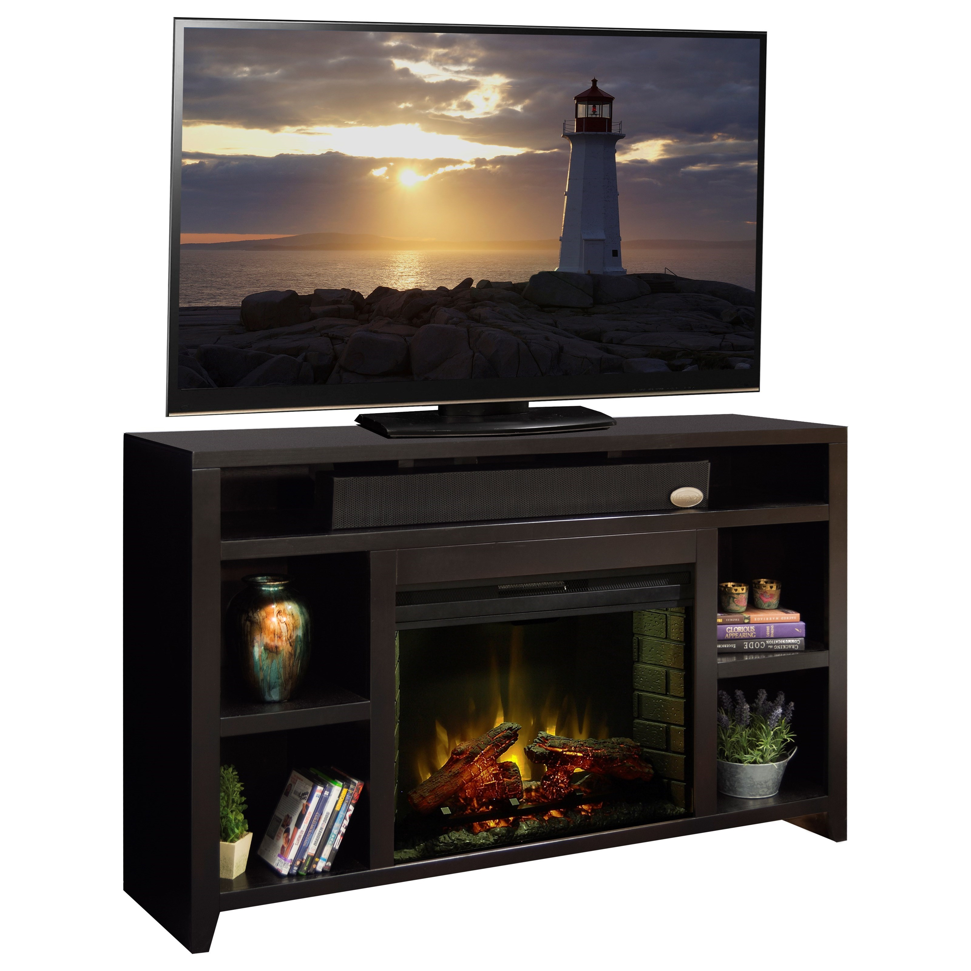 center dimplex electric traditional pin console fireplace bailey media with logs espresso
