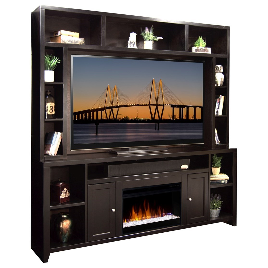 """84"""" Fireplace Console and Hutch"""