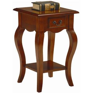 Leick Furniture Favorite Finds Traditional Square Side Table with Drawer and Shelf