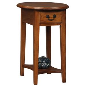 Leick Furniture Favorite Finds Casual Oval Side Table with Drawer and Shelf