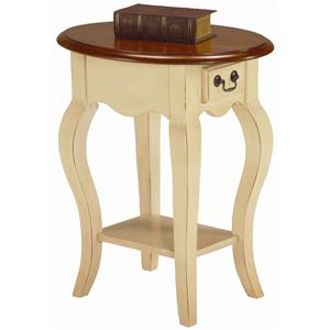 Leick Furniture Favorite Finds Traditional Oval Side Table with Drawer and Shelf