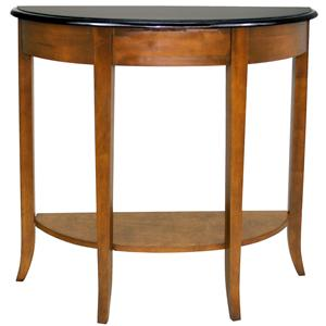 Leick Furniture Favorite Finds Casual Demilune Granite Top Console with Shelf