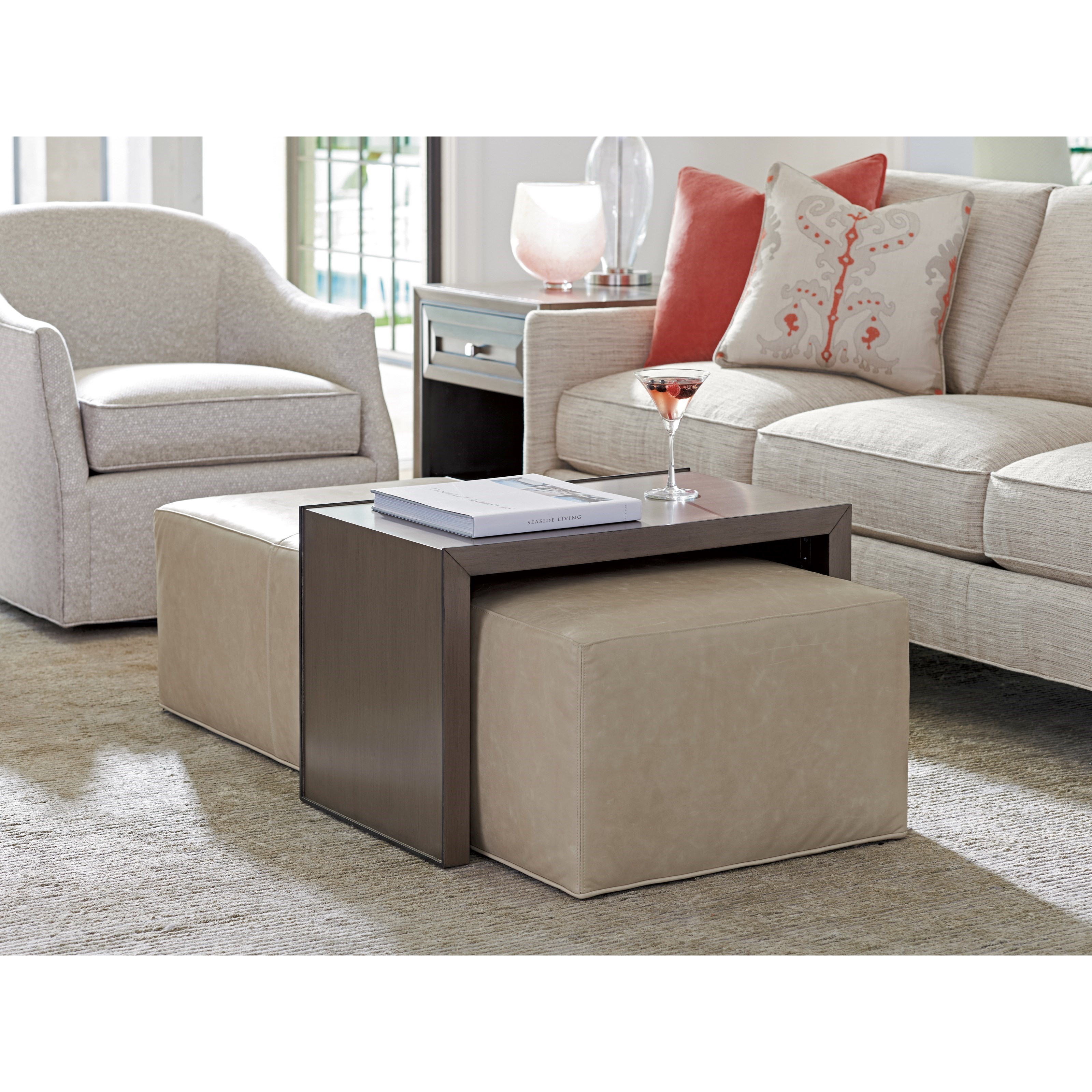 Lexington Ariana Savona Cocktail Ottoman With Sliding Wood