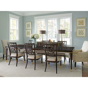 Lexington Carlyle Transitional 9 Piece Dining Set With Manhattan Table Pierce Chairs Monarch Chairs Johnny Janosik Dining 7 Or More Piece Sets