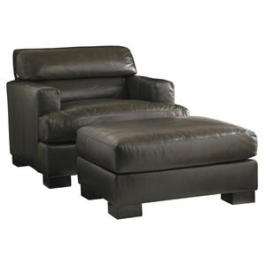 Lexington Carrera Toscana Leather Chair and Ottoman Set