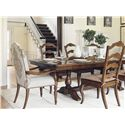 Lexington Coventry Hills Cedar Falls Dining Trestle Table with Fancy Face Top and Two Table Leaves