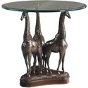 Lexington Henry Link Trading Co Heads Above Round Glass-Top Accent Table with Three Brass Giraffes