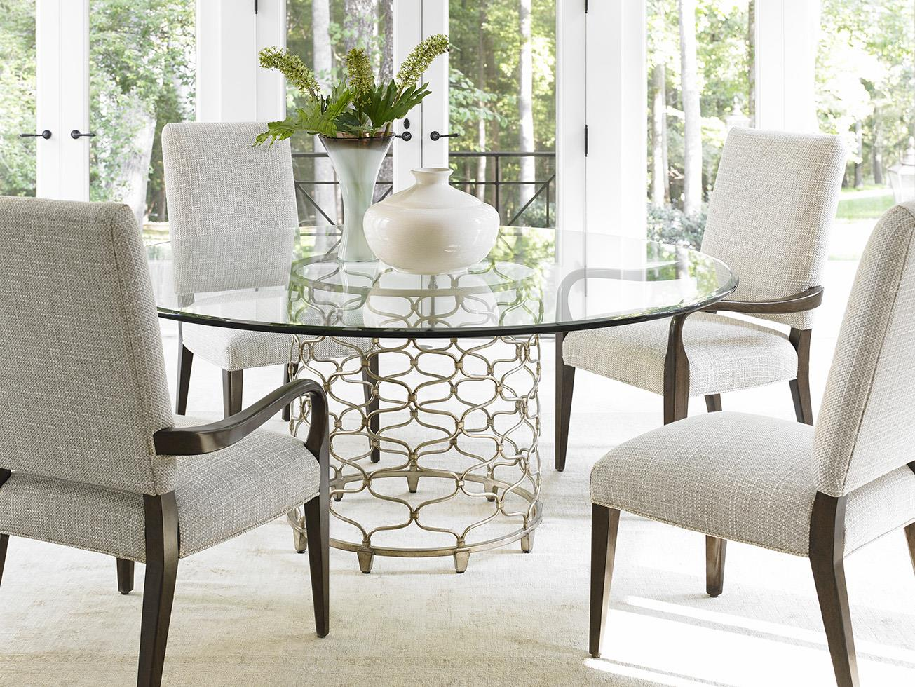 Tufted Chaise Lounge Chair, Lexington Laurel Canyon Five Piece Dining Set With Bollinger Table And Married Fabric Chairs Esprit Decor Home Furnishings Dining 5 Piece Sets