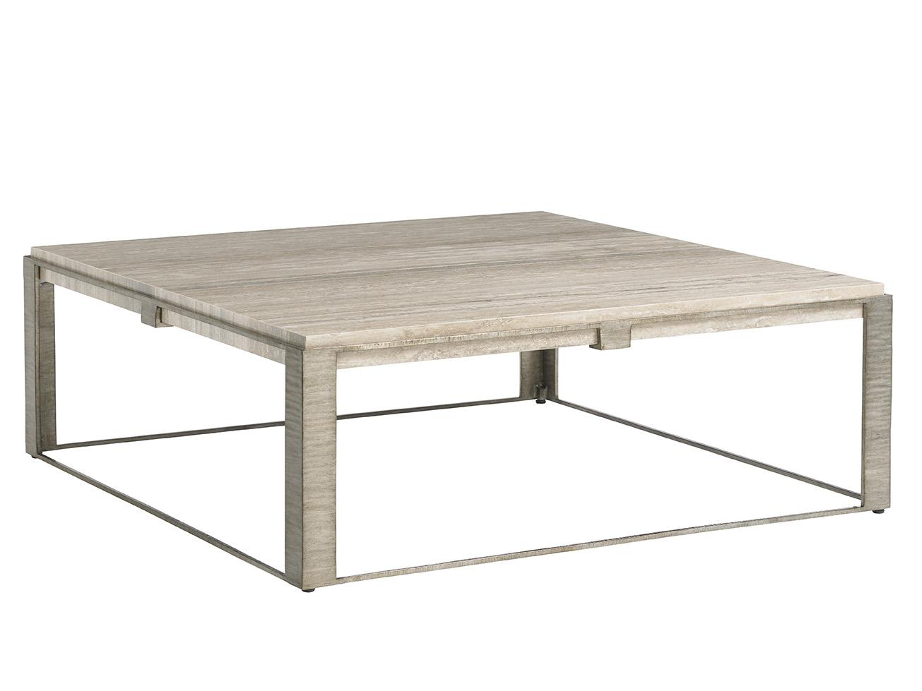 Lexington Laurel Canyon Stone Canyon Cocktail Table With Silver Travertine Top Reeds Furniture