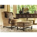 Lexington Lexington Upholstery Bradbury Chair and Ottoman with Wing Back and Turned Legs