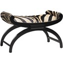 Lexington Lexington Leather Macaulay Authentic Zebra Hair-On-Hide Leather Upholstered Ottoman with Scrolled Ends & Arched Leg Base