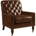 Lexington Lexington Leather Customizable Sandhurst Tufted-Back Leather-Upholstered Chair with Casters