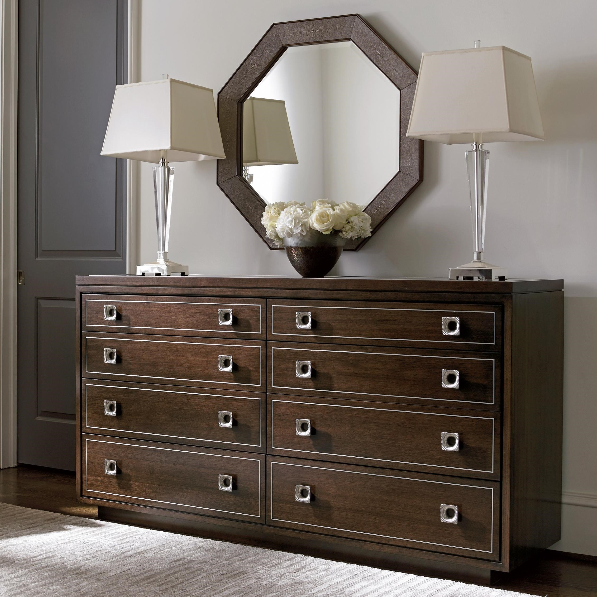MacArthur Park Montage Dresser and Riva Mirror Set by Lexington at Johnny Janosik