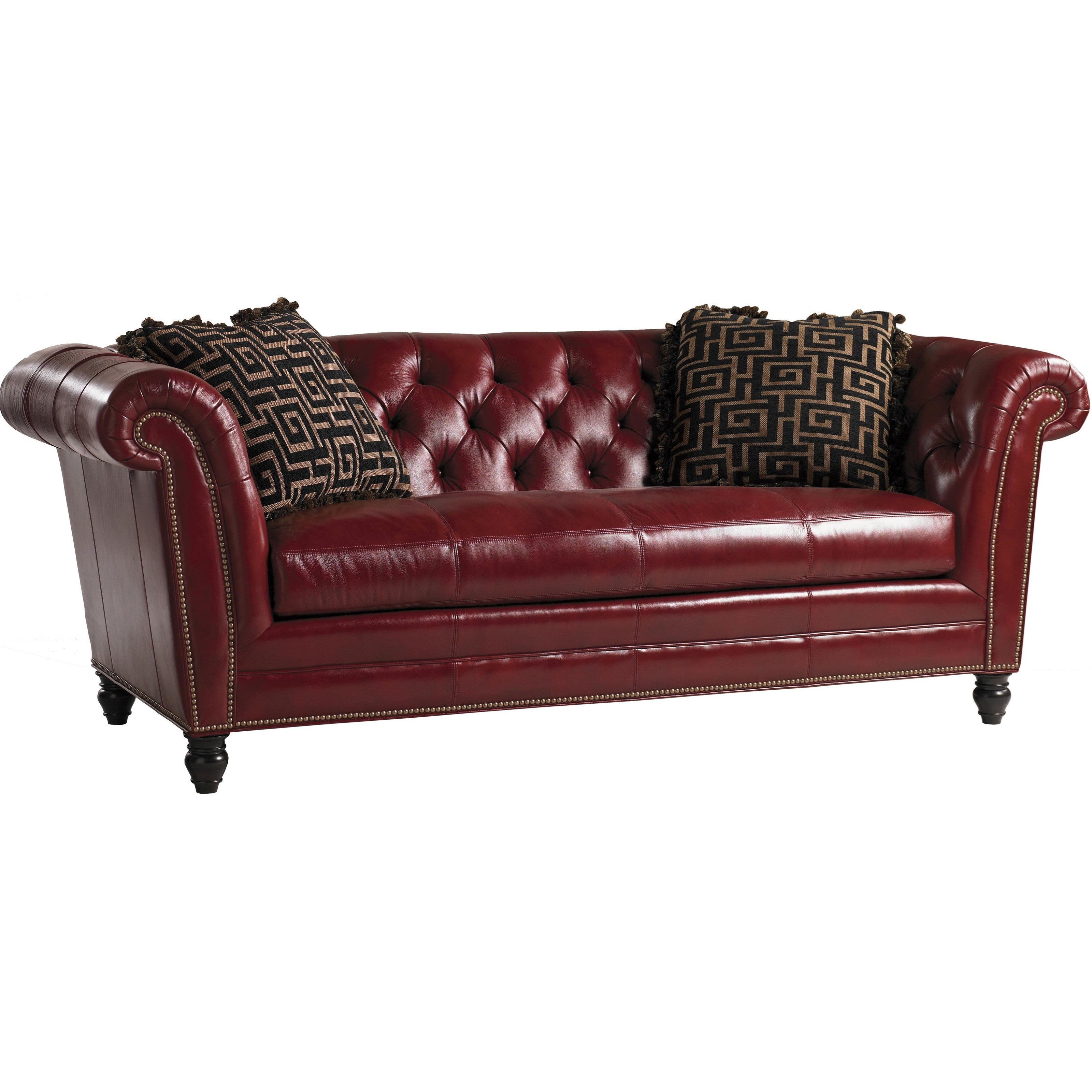 Lexington quick ship upholstery quick ship bridgewater tufted back red leather sofa with two Leather sofa throws