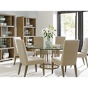 Lexington Shadow Play Seven Piece Dining Set with Glass-Top Rendezvous Table and Dove Gray Metro Chairs