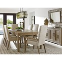 Lexington Shadow Play Seven Piece Dining Set with Concorde Table and Dove Gray Metro Arm Chairs
