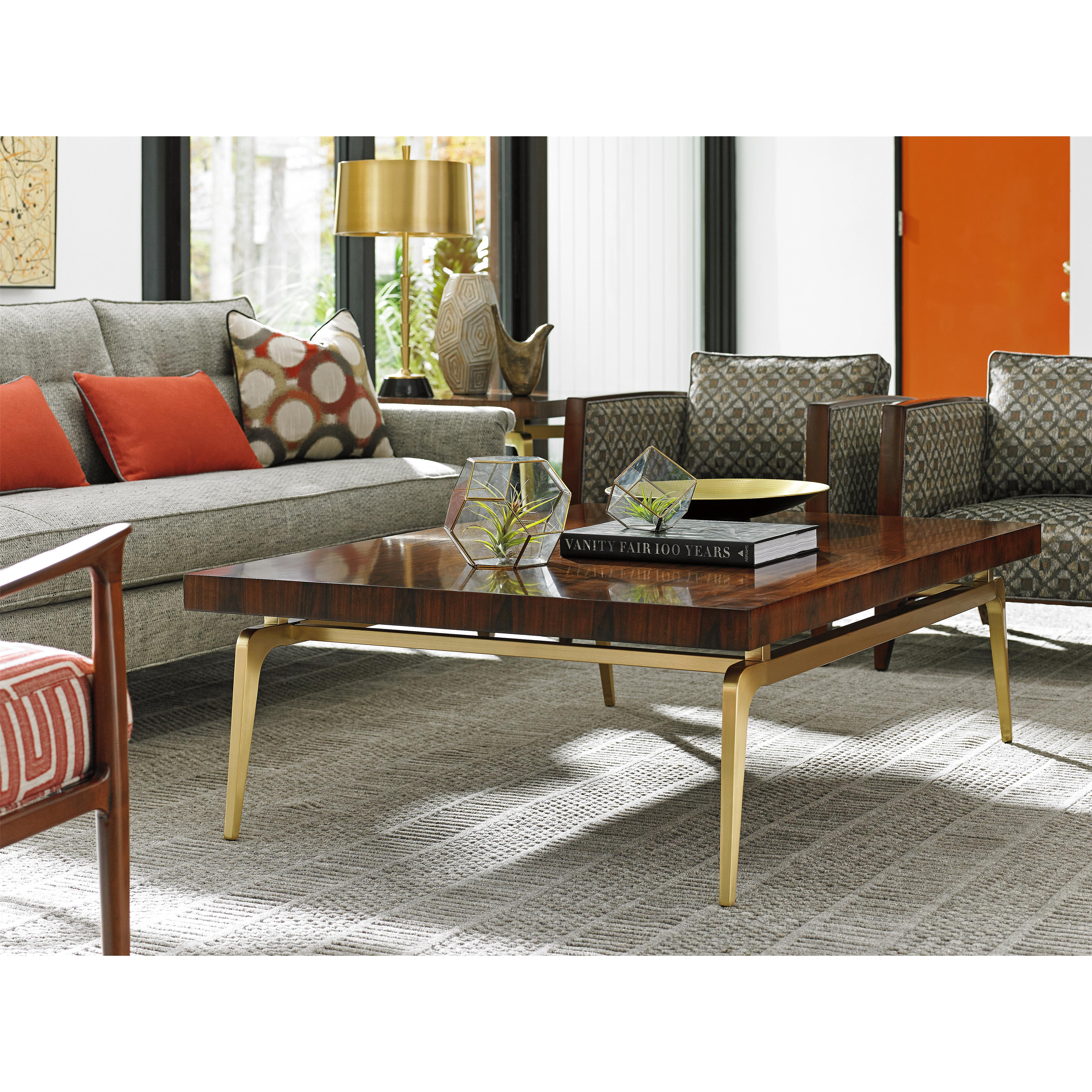 Lexington Take Five 723 945c Bryant Park Cocktail Table With Rosewood Veneers And Brass Plated