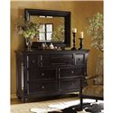 Tommy Bahama Home Kingstown Stony Point Triple Dresser with Pilasters - Shown with Fairpoint Mirror
