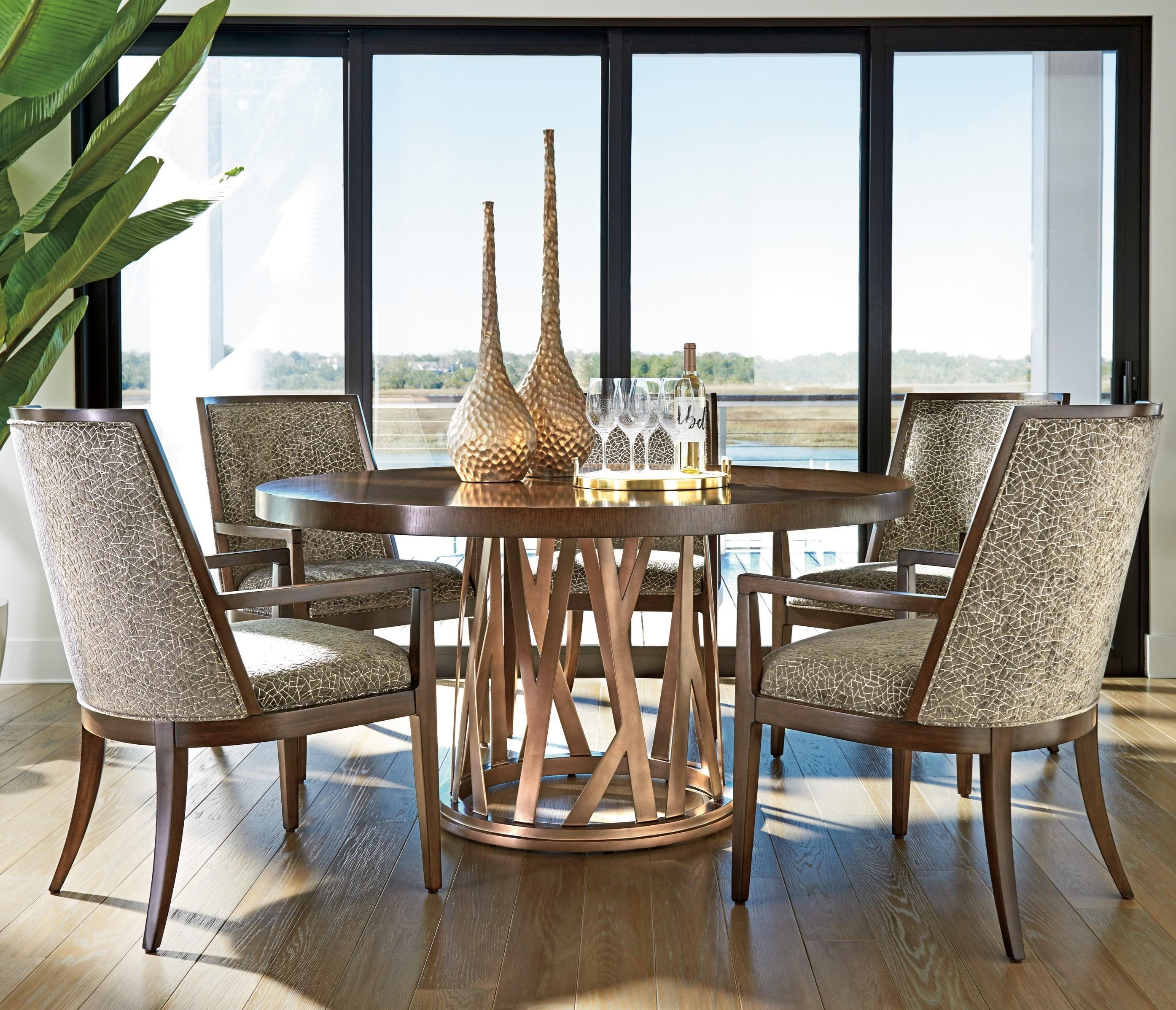 Lexington Zavala Six Piece Dining Set With Horizon Round