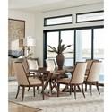 Lexington Zavala Seven Piece Dining Set with Loggia Rectangular Table