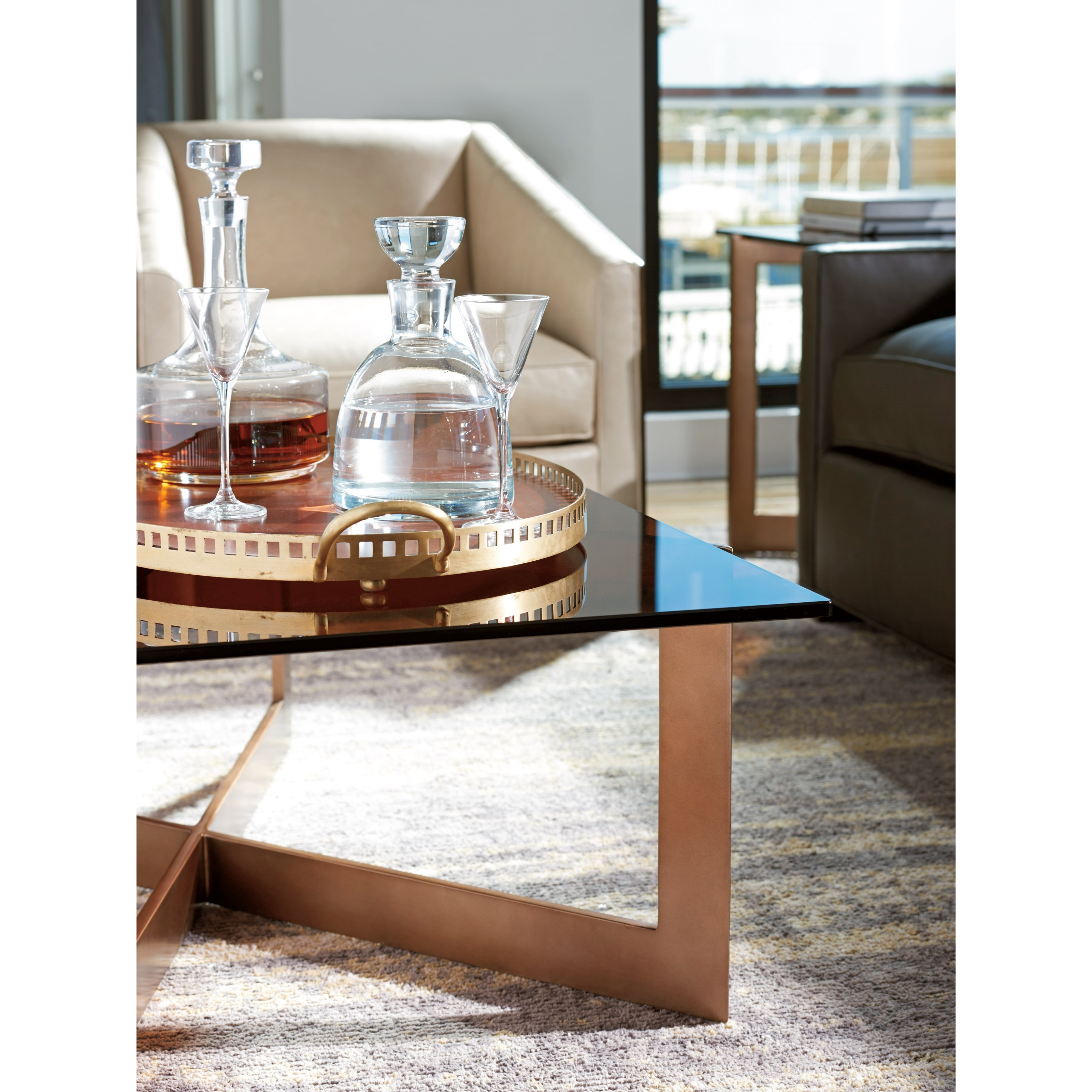 Lexington Zavala Aperture Cocktail Table With Amber Tinted