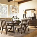 Lexington 11 South Mode Dining Banquette - Shown with Innova Arm and Side Chair, and Ovation Sideboard. Marquee Dining Table and Lumina Mirror No Longer Available by Manufacturer