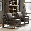 Lexington 11 South Axis Leather Chair with Exposed Wood  - Shown with Synergy Stacking Hutches
