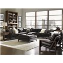 Lexington 11 South Axis Leather Chair with Exposed Wood  - Shown with Cosmo Lamp Table, Cascade Cocktail Table, Chronicle Sectional, Synergy Stacking Hutches and South Throw Pillow